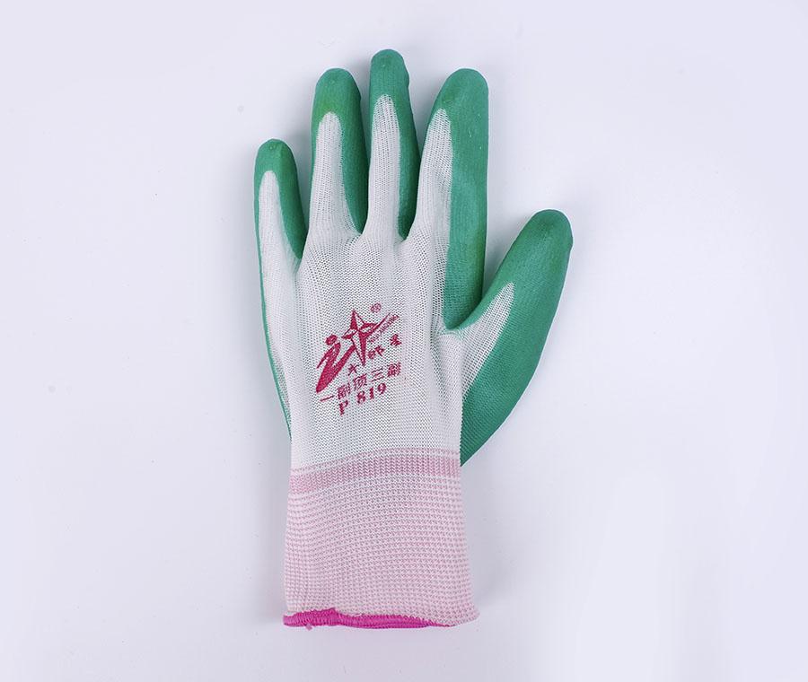 耐磨防滑耐酸碱丁腈浸胶劳保手套